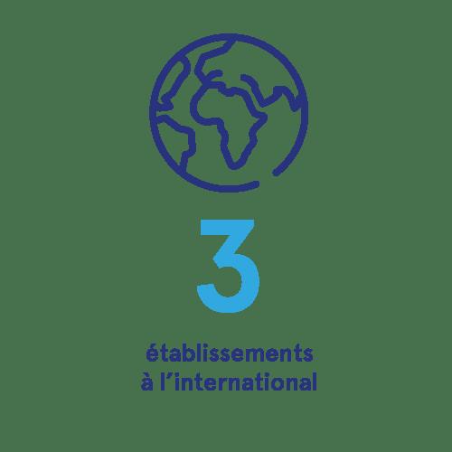 3 établissements à l'international
